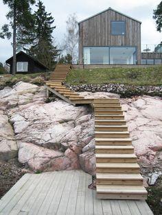 Villa Tranholmen | Enflo Arkitekter Architecture Design, Scandinavian Architecture, Wooden Cabins, Log Cabins, Landscape Stairs, Modern Mountain Home, Interesting Buildings, Environmental Design, House In The Woods