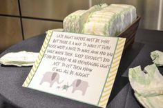 What a fun baby shower! The gender hasn't been revealed so we themed this party yellow, green and grey. The grey elephants were a part of the invitation as well as the room decorations. We ha…