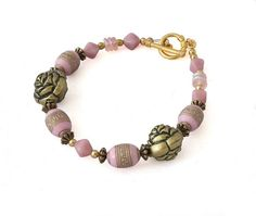Pink & Gold Rose Bead Bracelet for women, handmade beaded jewellery by Lottieoflondon