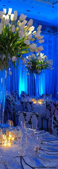 Tall tulips wedding centrepieces