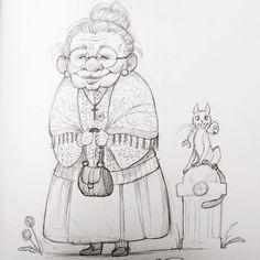 Art old lady cartoon, woman drawing, old women Easy Cartoon Drawings, Disney Drawings, Cute Drawings, Drawing Sketches, Cartoon Grandma, Old Lady Cartoon, Female Drawing, Woman Drawing, Eye Drawing Tutorials