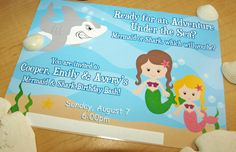 PRINTABLE Mermaid & Shark Birthday Party Invite - Personalized by us with your custom text. $18.00, via Etsy.