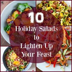 These holiday salads will lighten up your holiday meals. The recipes are easy, delicious, and healthy. All of them are festive options!