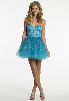 Short Tulle with Multi-Color Sequins Prom Dress by Camille La Vie