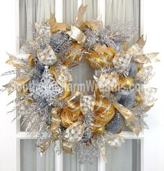 Deco Mesh Christmas Wreath Silver Gold Glitter Decor with Tree Ornament by www.southerncharmwreaths.com SOLD