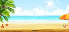 Realistic Summer Beach Tourism And Holiday Background Holiday Background Images, Beach Background Images, Sunset Background, Bright Background, Cartoon Background, Summer Backgrounds, Digital Backgrounds, Colorful Backgrounds, Photo Summer
