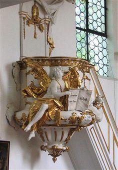 St. Georg München-Bogenhausen, Kanzel, Ignaz Günther --- Chaire de l'église Saint-Georges de Bogenhausen