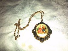 Vintage Victorian Courting Couple Porcelain Cameo Pendant Necklace