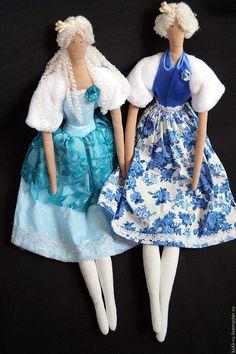 Купить Куклы-тильда. Подружки принцессы. - синий, тильда, кукла ручной работы, кукла Тильда