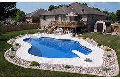 In-ground pool pool landscaping...love the idea of not having a whole yard full of concrete!!!