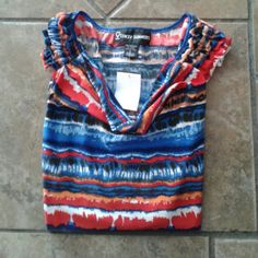 Multi Colored Short Sleeve Shirt I'm blue over you. This layered front blouse with ruffles on the shoulder 95%polyester /5% Lycra. Great under a jacket, with jeans, or shorts. Excellent condition Stacey Summers  Tops Tank Tops