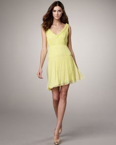 ca9c1fa8cf7f Vera Wang Lavender Line | Vera Wang Lavender Seamdetail Dress in Yellow  (lime) -. Lyst