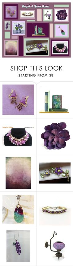 """Purple & Green Scene"" by anna-ragland ❤ liked on Polyvore featuring vintage"