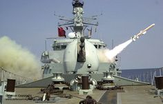 Type 23 frigate HMS Richmond is pictured firing her Harpoon anti-ship missile system.
