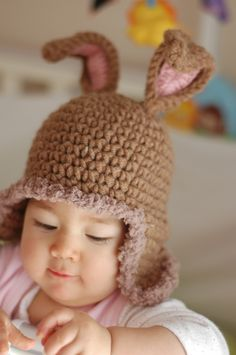 Crochet bunny hat - love the light brown and pink!