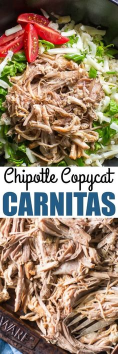 There's just one special ingredient that makes Chipotle Carnitas stand out above all others. Then you can just make them in your slow cooker! So easy. (Slow Cooker Recipes To Try) Copycat Recipes, Pork Recipes, Slow Cooker Recipes, Mexican Food Recipes, Crockpot Recipes, Dinner Recipes, Cooking Recipes, Healthy Recipes, Ethnic Recipes