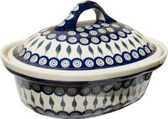 Polish Pottery Oval Casserole Dish From Zaklady Ceramiczne Boleslawiec 115856 Peacock Classic Pattern Height 76 Width 10 Length 125 * Click here for more details @