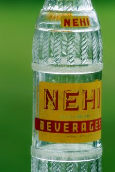 Oh my goodness! A NEHI Soda Bottle! My Papa used to buy me these :) Old Glass Bottles, Pop Bottles, Drink Bottles, Vintage Coke, Vintage Bottles, Vintage Signs, Soda Drink, Vintage Packaging, Sweet Memories