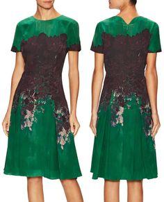 Carolina Herrera Green Silk Printed Crewneck Flared Dress