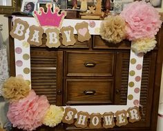 Photo booth frame for a girl's baby shower.