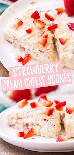 These Strawberry Cream Scones use cream cheese and butter to make the, extra moist! They are made with fresh strawberries and topped with a vanilla glaze. The cream cheese makes these such flaky scones! An easy baking recipe perfect for brunch! Strawberry Scones, Strawberry Breakfast, Strawberry Desserts, Easy Strawberry Recipes, Strawberry Cream Cheese Muffins Recipe, Blueberry Scones, Easy Brunch Recipes, Easy Desserts, Delicious Desserts