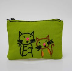 coin purse  green cats- hand embroidery on linen by NIARMENA on Etsy https://www.etsy.com/listing/129264695/coin-purse-green-cats-hand-embroidery-on