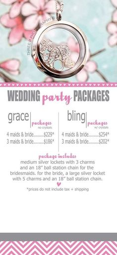 Great idea!!     Bridal package  Origami Owl dangles. Origami Owl 2014 Spring Collection is now available so go check it out at: www.jennifererbes.origamiowl.com