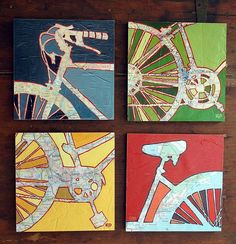 These two-wheeled-themed prints by Leslie DeRose at Off The Map are sweet: Vintage maps from major cities fill in each bicycle outline—in this case, Washington, D.C. (blue), Denver (green), Raleigh (yellow), and Charleston (red).