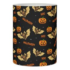 Bat pumpkin and spider pattern flameless candle - diy cyo customize create your own personalize