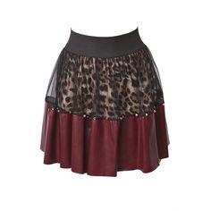 Wine Leopard Pu Skirt ($32) ❤ liked on Polyvore