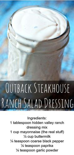 Ranch Dressing Recipes Just Like Outback Steakhouse - EASY Outback Copy Cat Recipe