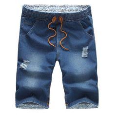 Casual Distressed Design Drawstring Waistband Denim Shorts For Men