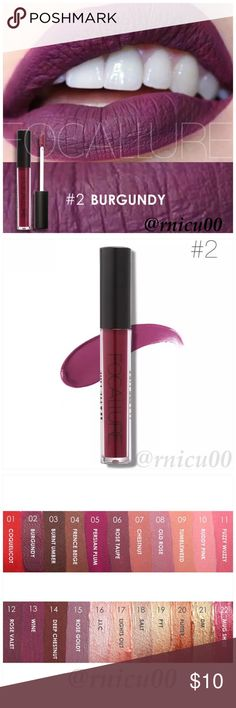 """🆕Fall Line! Burgundy Purple Matte Liquid Lipstick A Long-wearing, liquid Lipstick that dries Matte with an intense color payoff! Lightweight formula infused with antioxidants & an exclusive complex to help maintain the lips hydration. One thin coat has Amazing transfer-free staying power! (shopfocallure.com)  ✔️Popular 5⭐️ Product, Sealed in Box ✔️""""Burgundy"""" ✔️Cruelty Free, NO Parabens or Phthalates ✔️Pic's obtained Online   *NO TRADES *Prices are FIRM-Listed at Lowest Price Unless BUNDLED…"""