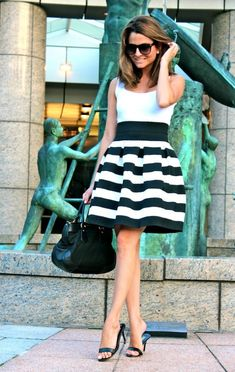 black and white skirt - white top | Oh My looks by Silvia
