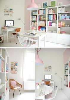 office/scrap/craft room  I love how so many are using white! Love white for basics and pops of color for accent!