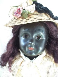 VERY RARE FRENCH JULES STEINER BLACK BISQUE HEAD FIGURE A BEBE, ALL ORIGINAL AND PERFECT
