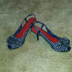 Nine West 8.5 Polka Dot Heels Up for sale is a pair of navy blue heels.  They've never been worn.  They are a size 8.5 made by Nine West.  The color is navy blue with white polka-dots. Nine West Shoes Heels