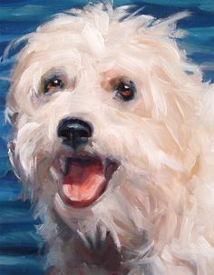 FreeSpirited Terrier LIVVI cools off, custom Pet Portrait Oil Painting by puci (detail of larger painting) #OilPaintingBirds