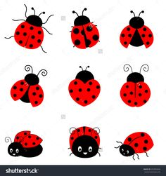 Cute Colorful Ladybugs Clip Art Collection Isolated On White Background Stok Vektör İllüstrasyonu 253965649 : Shutterstock
