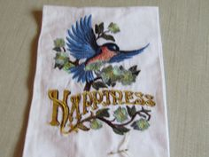 Happiness Bird guest towel by AWondrousPlace on Etsy
