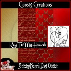 Key To My Heart Digital Stamp and Paper Pack