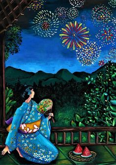 Painting - Flowers In The Sky - The Summer Hanabi Delight by Tara Krishna #affiliate , #affiliate, #spon, #Sky, #Flowers, #Tara, #Summer #Japan #travel #guide #japantravel #TheRealJapan #Japanese #howtotravel  #vacation #trip #explore #adventure #traveltips www.therealjapan.com Hanabi, Summer Flowers, Japan Travel, Fireworks, Krishna, Painting & Drawing, Painting Flowers, Greeting Cards, Sky