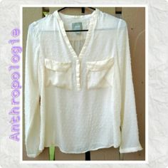 """ANTHROPOLOGIE - Maeve Cream """"Puff Dot"""" Top Anthropologie MAEVE CREAM SHIRT SZ 4    MAEVE made a whimsical Popcorn Puff Stitch, 3 Button,  V Neck SHIRT.     Very Lightweight with Two Front Pockets & Little Cuffed Long Sleeves.     BEAUTIFUL & COMFORTABLE!! Anthropologie Tops Button Down Shirts"""