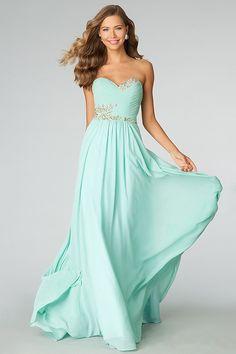 2014 Sweetheart Pleated Bodice A Line Full Length Dress Embellished With Beads And Rhinestone USD 126.99 LDP4Q5X4ZC - LovingDresses.com