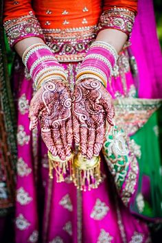 Indian bridal mehndi on bride hands
