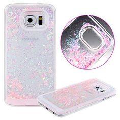 S6 Edge Case,S6 Edge Liquid Case,UZZO 3D Hard Shell Liquid Glitter Sparkle Stars Hard Case Cover for Samsung Galaxy S6 Edge (Pink)