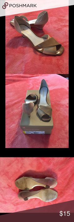 """Naturalizer tan patent shoes Size 5.5 with original box. Now disabled and can't wear my beautiful shoes.These are beautiful camel tan brown fade patent dressy 2"""" heels with open criss cross toes. Only worn a couple of times. Size 5.5. More to post if you have tiny feet like me! Bundle any 2 or more of my items and save 10%! Naturalizer Shoes Heels"""