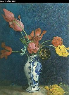 Carl Larsson, tulpaner i vas (Tulips in a Vase) This one is unusual -- a still life in a simple composition rather than the complicated life scenes he generally paints.