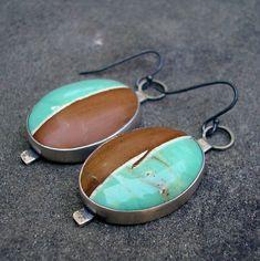 Variscite Silver Earrings - Australian Variscite Sterling Silver Dangle Earrings - Brown and Teal Green Stone Earrings - Striped Stones