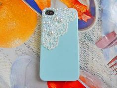 Blue hard Case with pearl for iPhone 4 by braceletbanglecase $12.99